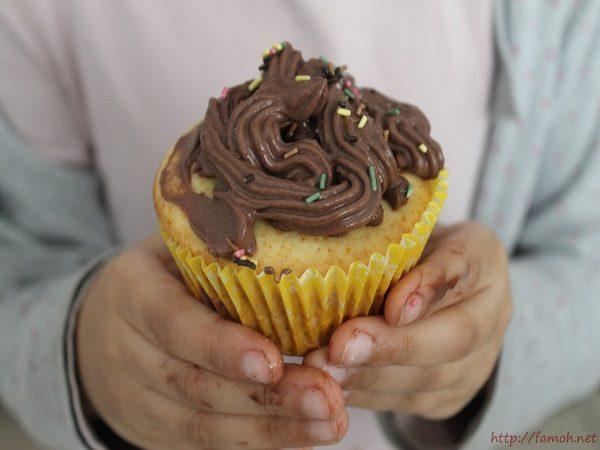 Cupcakes crème chocolat {sans beurre}