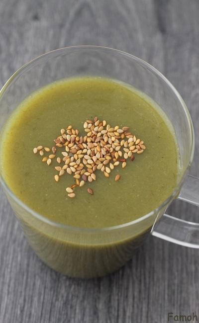 soupe de poireau et graines de sésame