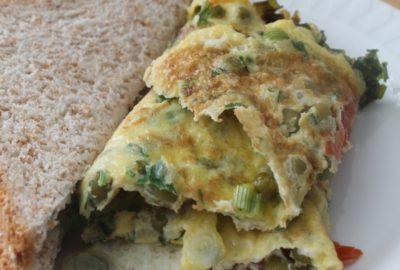 omelette tomate et petits pois